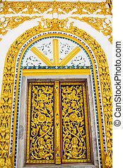 dichtbegroeid boven, thai, gekerfde, deuren