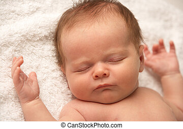 dichtbegroeid boven, van, baby, slapende, op, baddoek
