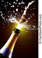 dichtbegroeid boven, van, champagne kurk, het knallen