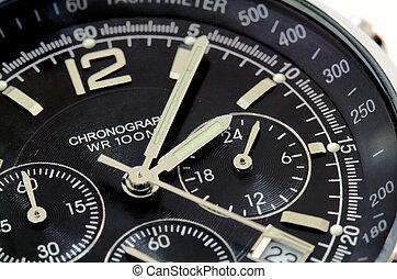 dichtbegroeid boven, van, een, black , horloge