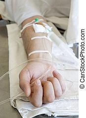 dichtbegroeid boven, van, een, patient\'s, hand, met,...
