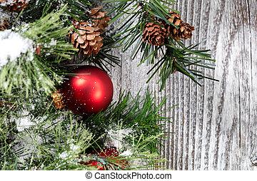 dichtbegroeid boven, van, een, rood, kerstmis bal, ornament, op wit, rustiek, hout