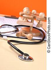dichtbegroeid boven, van, een, stethoscope