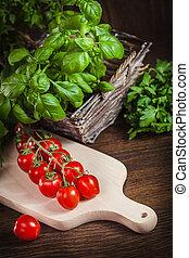 dichtbegroeid boven, van, fris, en, gezond voedsel