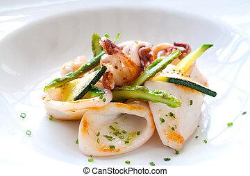 dichtbegroeid boven, van, grilled, calamari.