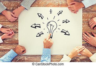 dichtbegroeid boven, van, handel team, richtend aan, bol, doodle