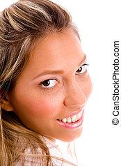 dichtbegroeid boven, van, het glimlachen, businesswoman