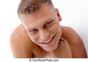 dichtbegroeid boven, van, het glimlachen, gespierd, man