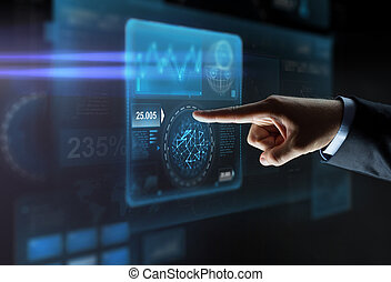 dichtbegroeid boven, van, het richten van de hand, vinger, om te, feitelijk, scherm