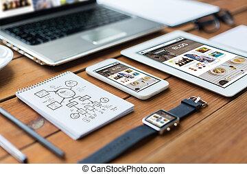 dichtbegroeid boven, van, op, draagbare computer, tablet pc, en, smartphone