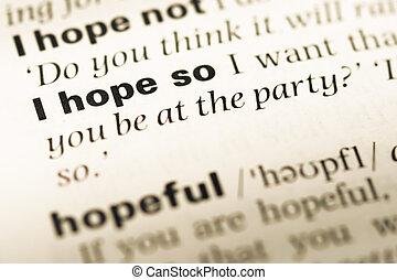 dichtbegroeid boven, van, oud, engelse , woordenboek, pagina, met, woord, ik, hoop, zo