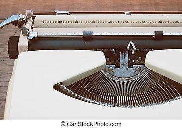 dichtbegroeid boven, van, oud, typemachine, ouderwetse , filter