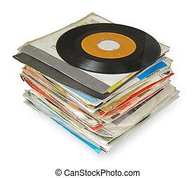 dichtbegroeid boven, van, oud, vinyl legt vast