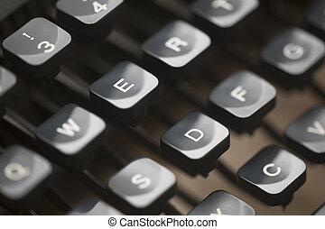 dichtbegroeid boven, van, ouderwetse , schrijfmachine stemt