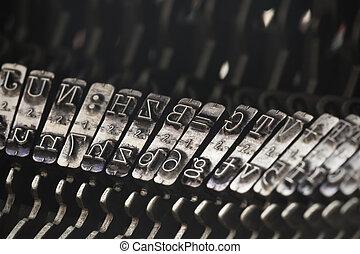 dichtbegroeid boven, van, ouderwetse , typemachine, brieven