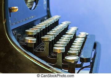 dichtbegroeid boven, van, ouderwetse , typewriter.