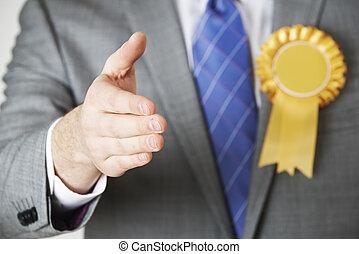 dichtbegroeid boven, van, politicus, het treffen buiten, om te, de hand schuden