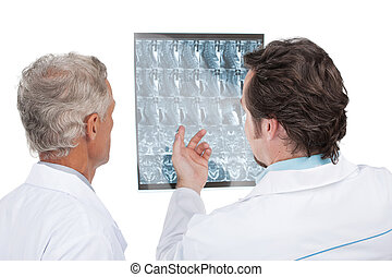 dichtbegroeid boven, van, twee, artsen, het bespreken,...