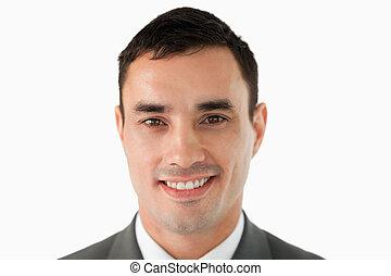 dichtbegroeid boven, van, zakenman, het glimlachen