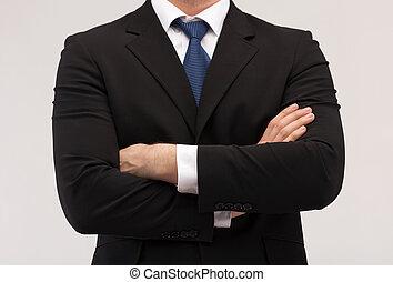 dichtbegroeid boven, van, zakenman, in, kostuum en stropdas