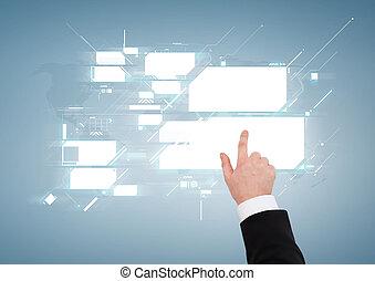 dichtbegroeid boven, van, zakenman, richtend aan, feitelijk, scherm