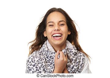 dichtbegroeid boven, verticaal, van, een, jonge vrouw , lachen