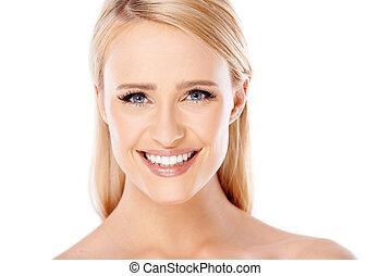 dichtbegroeid boven, verticaal, van, kaukasisch, blonde , vrouw