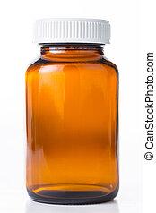 dichtbegroeid boven, vial, van, pillen, medisch, container