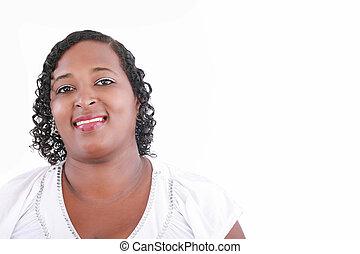 dichtbegroeid boven, vrolijke , en, zeker, zwaarlijvige, zwarte vrouw, het glimlachen