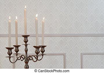 dichtbegroeid boven, zilver, candelabra