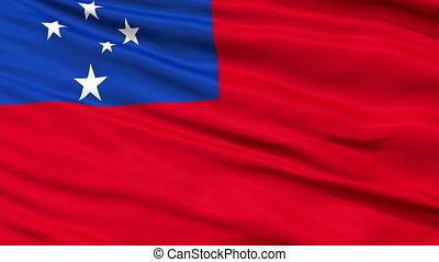 dichtbegroeid boven, zwaaiende , nationale vlag, van, samoa