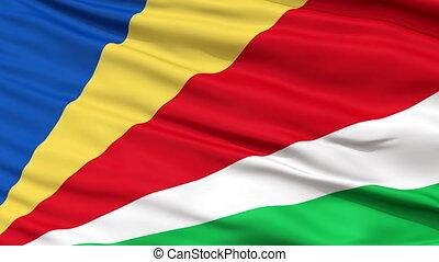 dichtbegroeid boven, zwaaiende , nationale vlag, van, seychellen