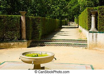 dichters, paleis, alcazar, tuin, seville