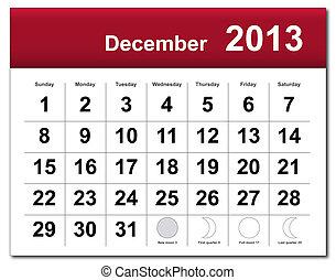 diciembre, calendario, 2013