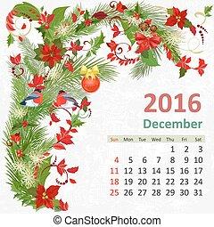 diciembre, calendario, 2016
