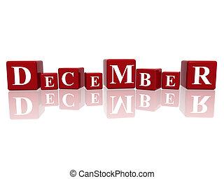 diciembre, cubos, 3d