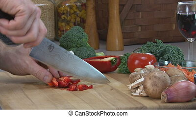 Dicing Red Pepper - Dicing red pepper. Close-miked stereo...