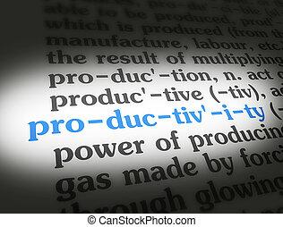 dicionário, produtividade