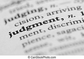 dicionário, série, -, julgamento