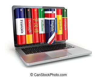 dicionários, laptop., linguagens, e-learning., aprendizagem, online.