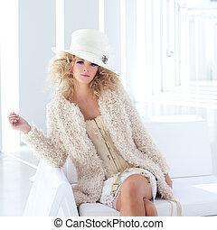 diciottesimo, corsetto, secolo, biondo, donna, moda