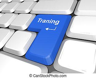 dicitura, addestramento, tastiera computer