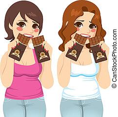dicker , frauen, essen schokolade, schuld