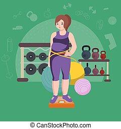 dicker , woman., junger, hübsch, karikatur, stil, fitness, m�dchen, in, gym.
