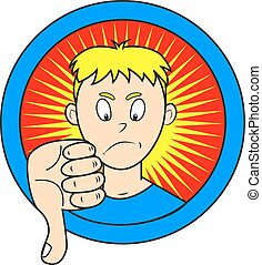 dicontent comics boy showing his thumb down