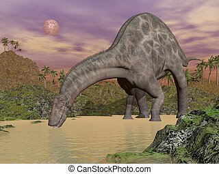 Dicraeosaurus dinosaur drinking - 3 - One dicraeosaurus ...