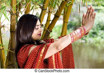 dicséret, indiai, nő
