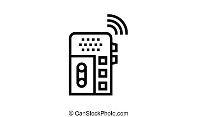 dictaphone, voice recorder gadget animated black icon. dictaphone, voice recorder gadget sign. isolated on white background