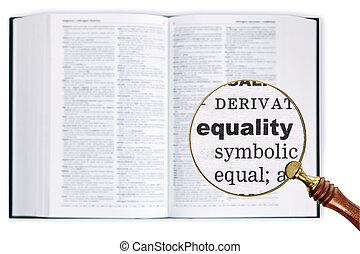 dictionary., égalité, sur, verre, par, magnifier
