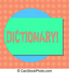 dictionary., 影, 勉強, ビジネスの色, 写真, 提示, synonyms, 執筆, メモ, 形, 本, もう1(つ・人), 到来, showcasing, vocabs, 長方形, circle., から